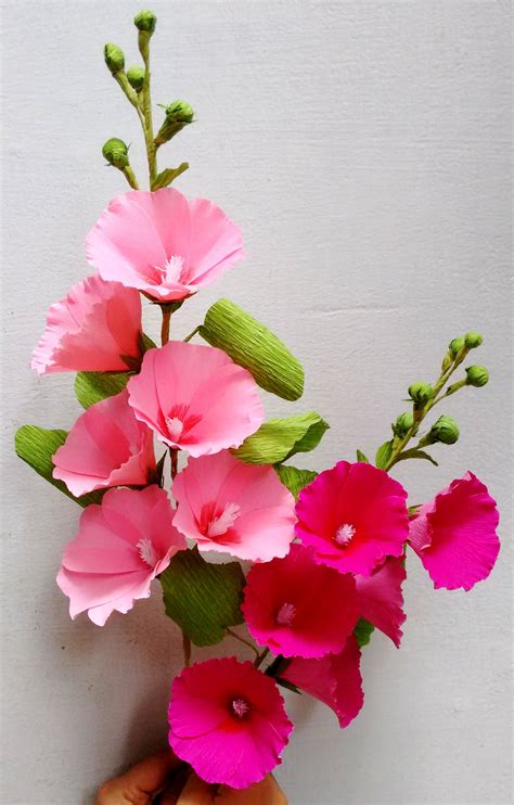 Paper Folwer how to make paper flowers hollyhock mallows flower 62