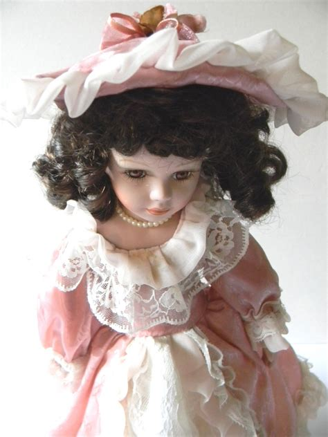 Handcrafted Porcelain Doll - 16 quot vintage handcrafted collectible porcelain doll