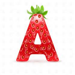 strawberry style font letter a design elements