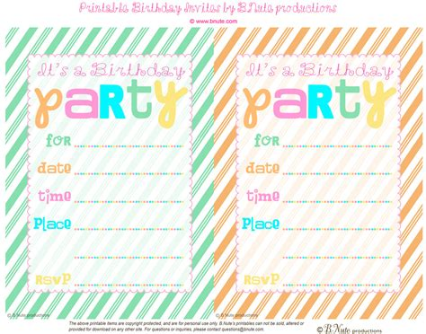 printable birthday invitation cards with photo bnute productions free printable striped birthday party