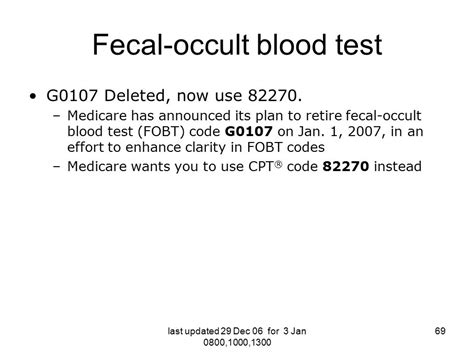 Cpt Code For Stool Analysis by 2007 Cpt Hcpcs Coding Changes For The Health