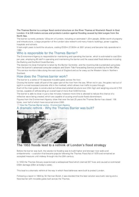 thames barrier gcse geography case study the thames barrier is a unique flood control structure on