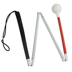 Blind Cane Tips Maxiaids 4 Section Alum Folding Cane With Rolling Tip 44 In