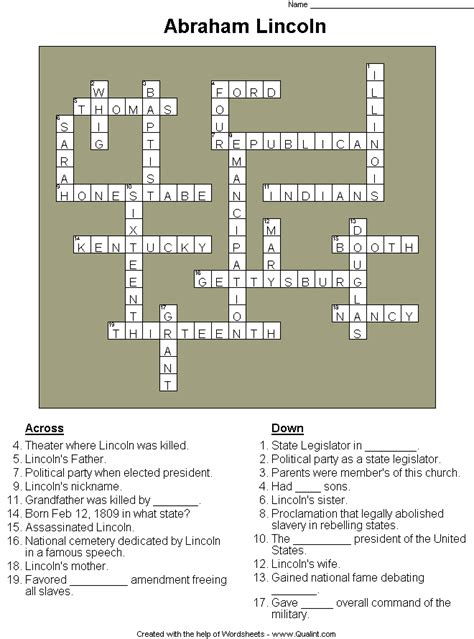 abraham lincoln biography questions qualint sle puzzles worksheets