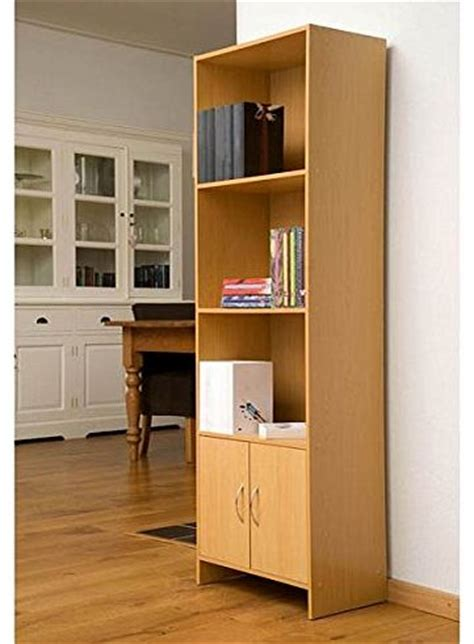 4 shelf bookcase with doors beech book cases reviews