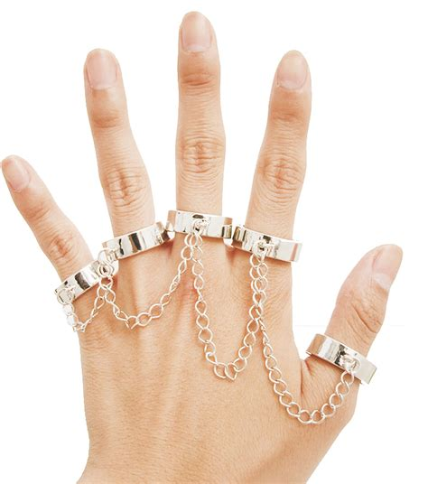 Chain Silver Ring 4 fingers chained rings fashion silver ring with chain
