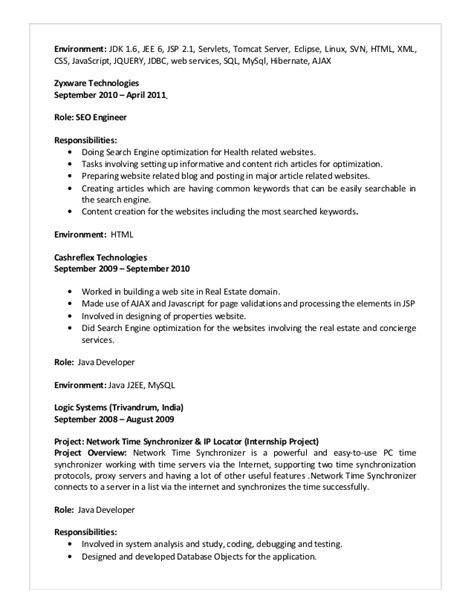 Sle Java Resumes by Java J2ee Resume Format 28 Images Sle Resume For Java J2ee Developer Great Resumes 100 Java