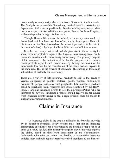 Hardship Letter Disability Project On Claims Management In Insurance