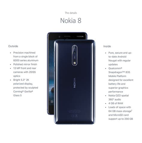 nokia features nokia 8 nokia 8 specifications features at in
