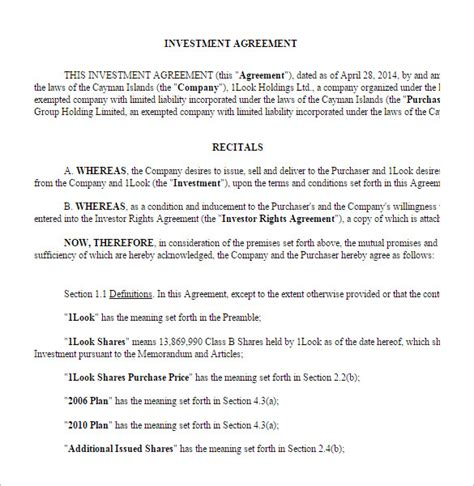 investment agreement template investment contract templates find word templates