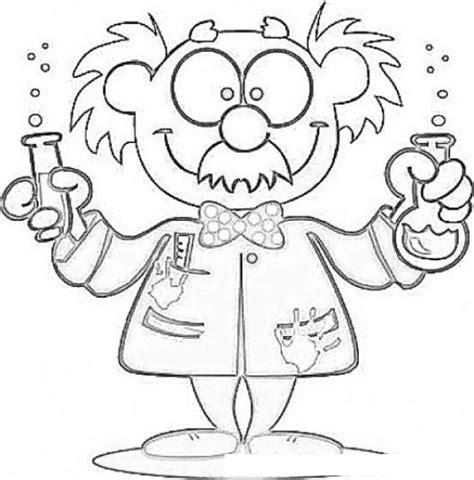 dibujos para colorear de cientificos dibujo de cientifico loco haciendo experimentos para