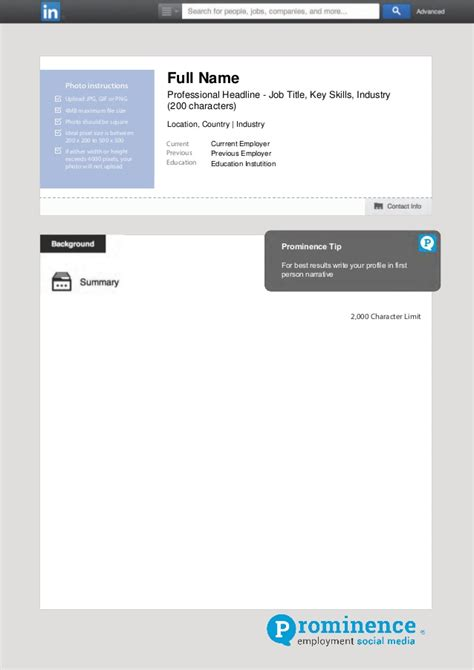 linkedin profile template prominence offline linkedin profile template
