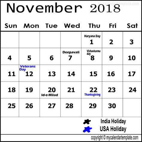 Calendar November 2018 November 2018 Calendar With Holidays Calendar Designs