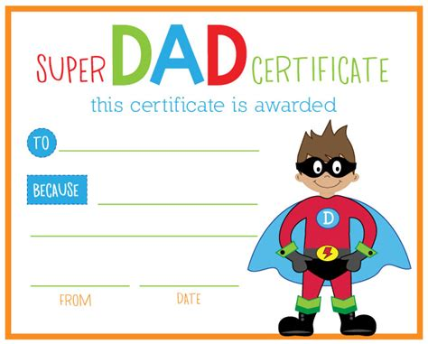 printable gift certificates for father s day superhero dad printable collection from lauren mckinsey