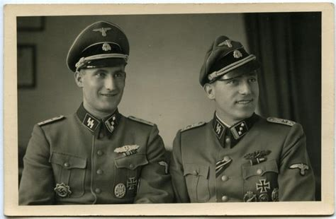 Two Officers by Waffen Ss Officers Great Details And Crusher Cap