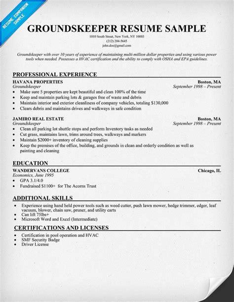 Groundskeeper Resume Example (resumecompanion.com