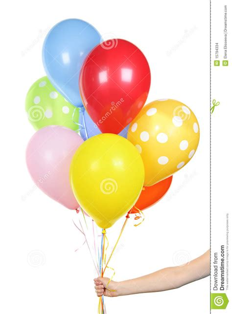 Hand holding balloons on white stock images image 15794334