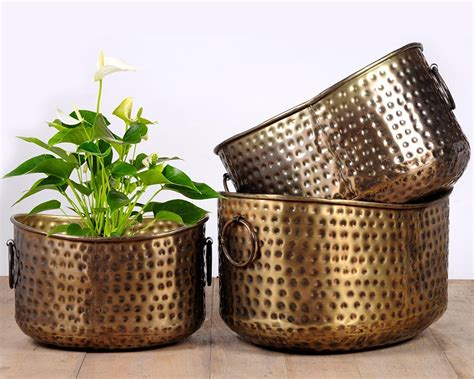 Antique Planters by Brass Antique Hammered Planter Set Of 3