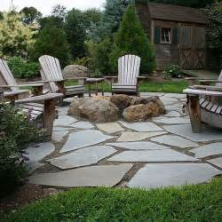 Flagstone Patio With Firepit Flagstone Patio Pit Decks Left And Outdoor Living
