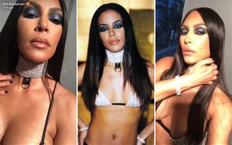 kim kardashian dress up as aaliyah black twitter losses it when kim kardashian dressed up as