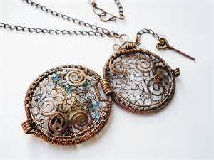 Wire wrapping jewelry pendant handmade with copper wire glass beads ... Jewelry