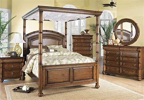 cindy crawford bedroom set cindy crawford key west king dark pine 6pc upholstered