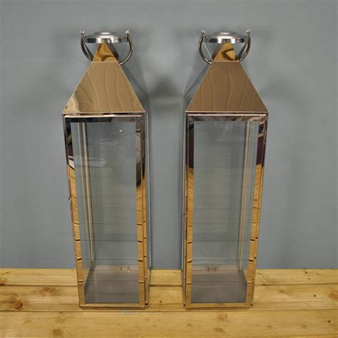 Large Silver Candle Lanterns by Two Knightsbridge Silver Candle Lanterns 77cm By Garden