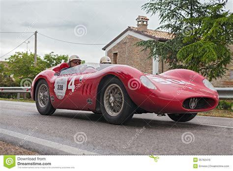 old maserati race car maserati 200 si 1957 runs in mille miglia 2013 editorial