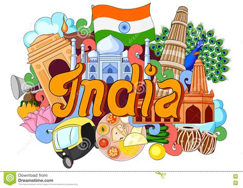 indian doodle doodle showing architecture and culture of india