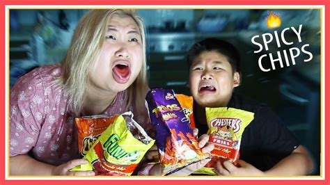 hot chip challenge youtube tasting flamin hot chips challenge ft crew