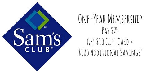 Sams Club Membership Gift Card - sam s club membership only 15 after gift card 100 additional savings become a