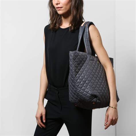 mz wallace mz wallace quilted medium metro tote in gray lyst