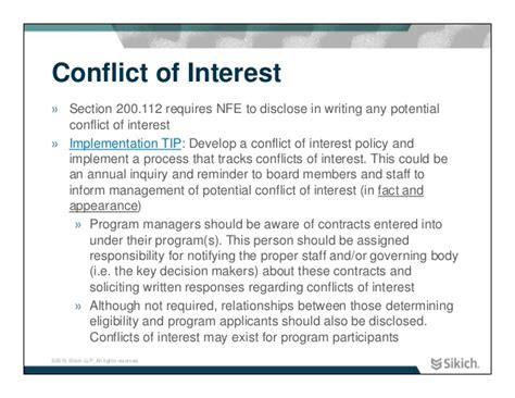 conflict of interest disclosure form template theory and practice changes to omb single audit