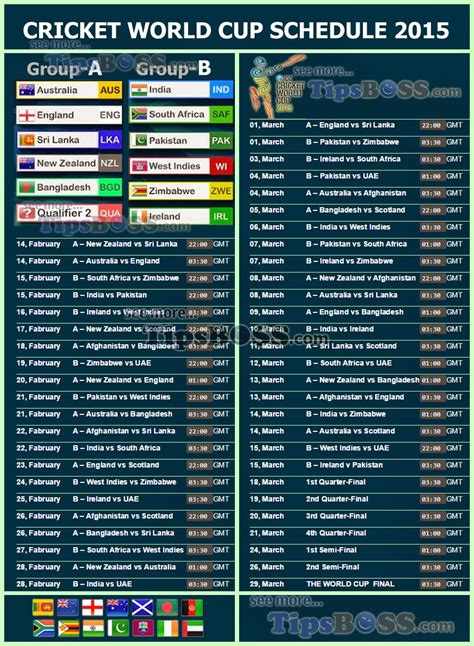 world cup schedule 2015 cricket world cup fixture or icc schedule