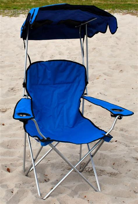 Folding Chair With Shade by Folding Canopy Chair Cing Chair Xl Outdoor Chairs Blue Ebay