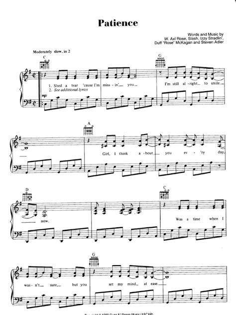 U2 Knocking On Heavens Door by Sheet Piano Score Guns N Roses Patience