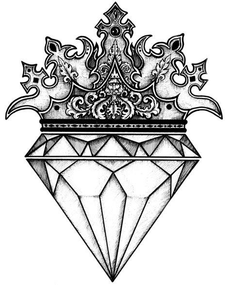 tattoo diamond black and white diamond crown by luciananedelea on deviantart