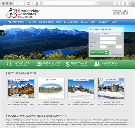 breckenridge homes for sale website design