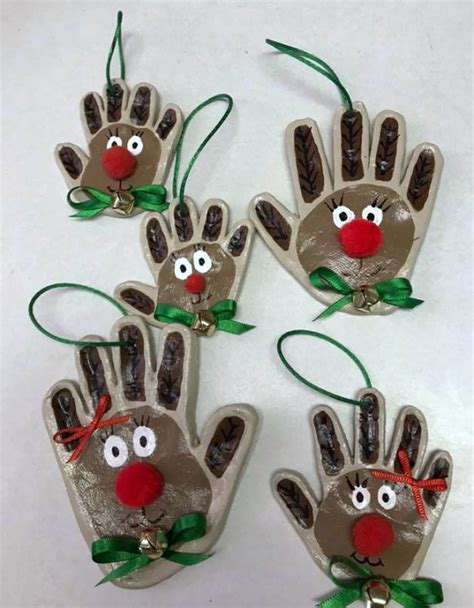 handprint clay reindeer ornaments crafty morning