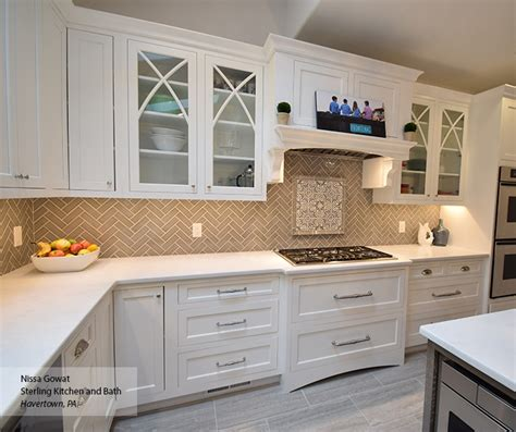 White Inset Cabinets With A Gray Kitchen Island Omega White Inset Kitchen Cabinets