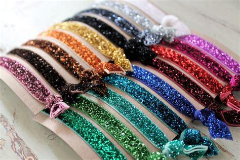 hair ties with glitter elastic hair ties choose 3 colors knotted hair
