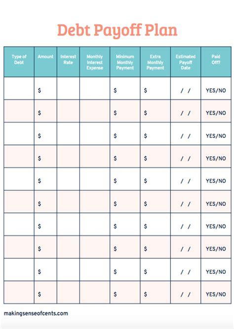 Debt Payoff Worksheet Free Debt Payoff Plan Worksheet Sense Of Cents