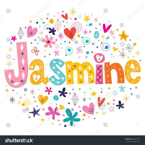 decorative design types jasmine girls name decorative lettering type stock vector