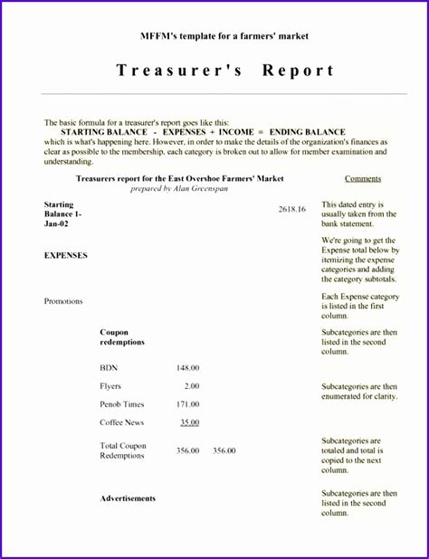 6 Treasurer Report Template Excel Exceltemplates Exceltemplates Non Profit Financial Report Template