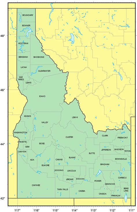 idaho county map map of countries in idaho pictures to pin on pinsdaddy
