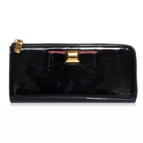 Miu Miu Patent Continental Wallet by Miu Miu Patent Bow Zip Continental Wallet Black 46648