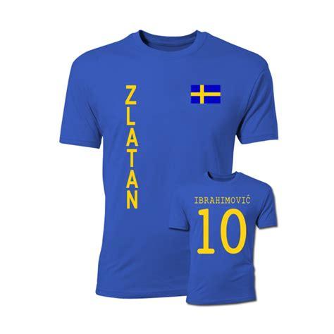 Ibrahimovic T Shirt zlatan ibrahimovic sweden flag t shirt blue