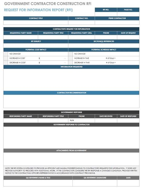 Free Request For Information Templates Smartsheet Construction Rfi Template
