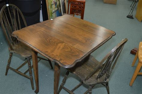 Small Drop Leaf Table With 2 Chairs Two Style Spindle Back Side Chairs And A Small Drop Leaf Table