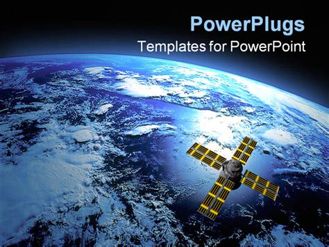 3d Earth With Satellite In Orbit Powerpoint Template Satellite Ppt Template Free